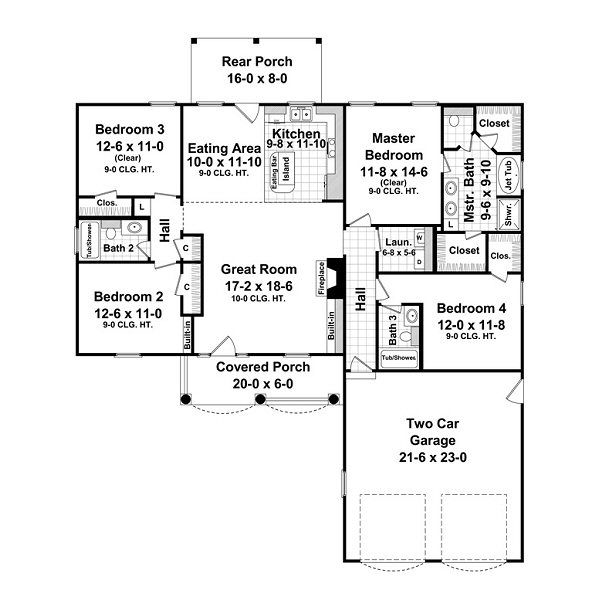 House Plan Design - European Floor Plan - Main Floor Plan #21-214