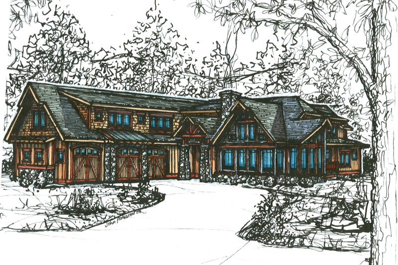 Craftsman Style House Plan - 4 Beds 4 Baths 3231 Sq/Ft Plan #921-25 Exterior - Front Elevation