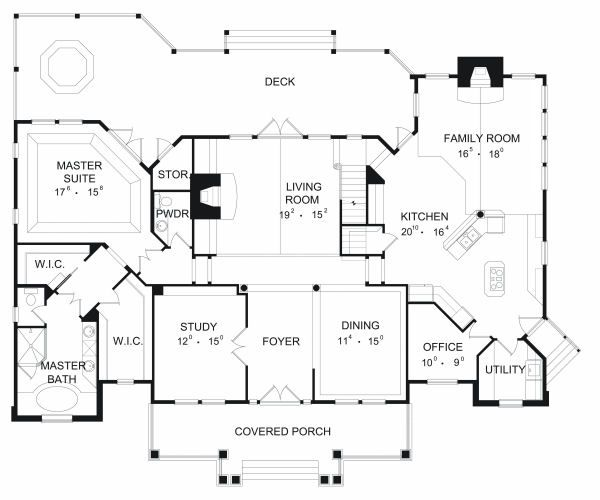 European Floor Plan - Main Floor Plan Plan #417-391