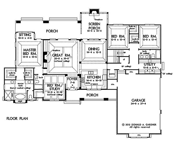 Craftsman Style House Plan - 4 Beds 3 Baths 2533 Sq/Ft Plan #929-24 Floor Plan - Main Floor Plan