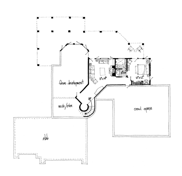 Ranch Floor Plan - Lower Floor Plan Plan #942-35