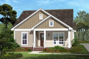 Cottage Exterior - Front Elevation Plan #430-41
