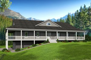 Country Exterior - Front Elevation Plan #932-175
