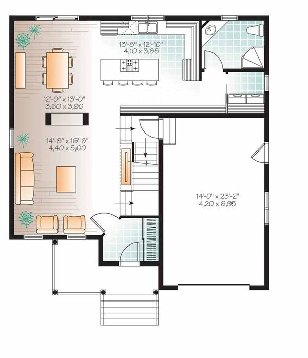 Architectural House Design - Country Floor Plan - Main Floor Plan #23-2538