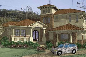 Dream House Plan - Mediterranean Exterior - Front Elevation Plan #120-213
