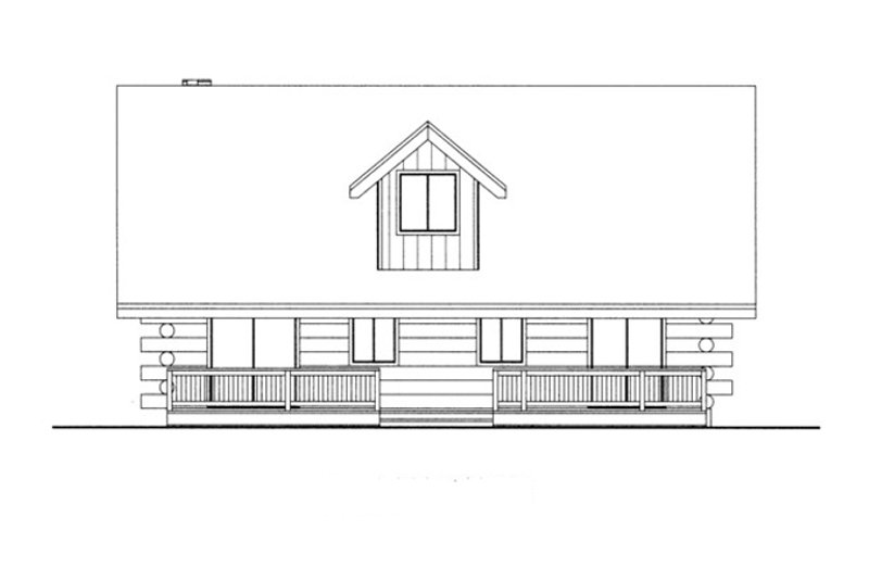 Log Exterior - Rear Elevation Plan #117-824 - Houseplans.com