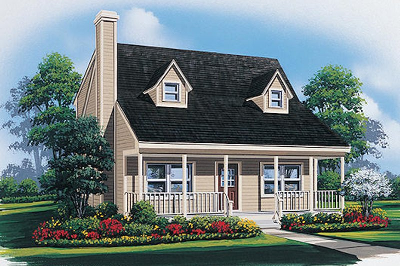 Traditional Style House Plan - 2 Beds 2 Baths 1200 Sq/Ft Plan #57-435 Exterior - Front Elevation