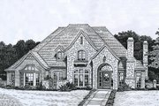 European Style House Plan - 4 Beds 3.5 Baths 3168 Sq/Ft Plan #310-927 Exterior - Front Elevation