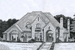 European Exterior - Front Elevation Plan #310-927