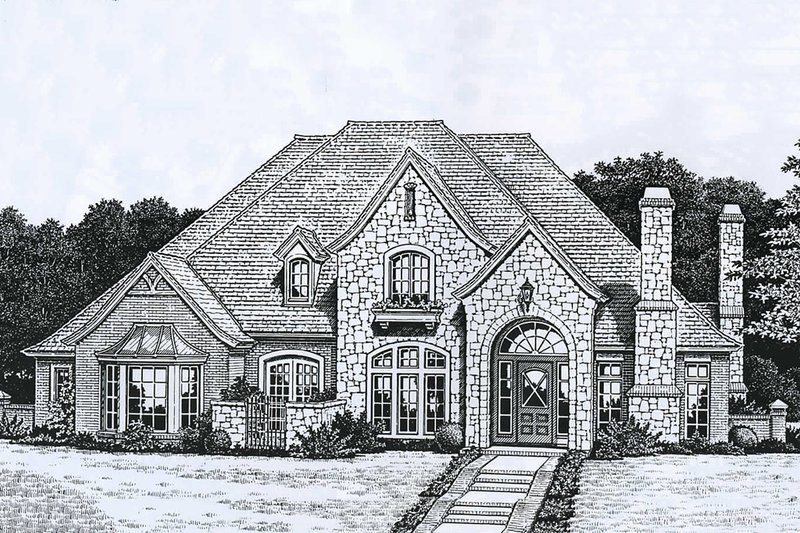 European Style House Plan - 4 Beds 3.5 Baths 3168 Sq/Ft Plan #310-927