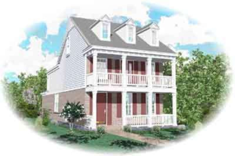 Southern Style House Plan - 3 Beds 2.5 Baths 2500 Sq/Ft Plan #81-462 Exterior - Front Elevation