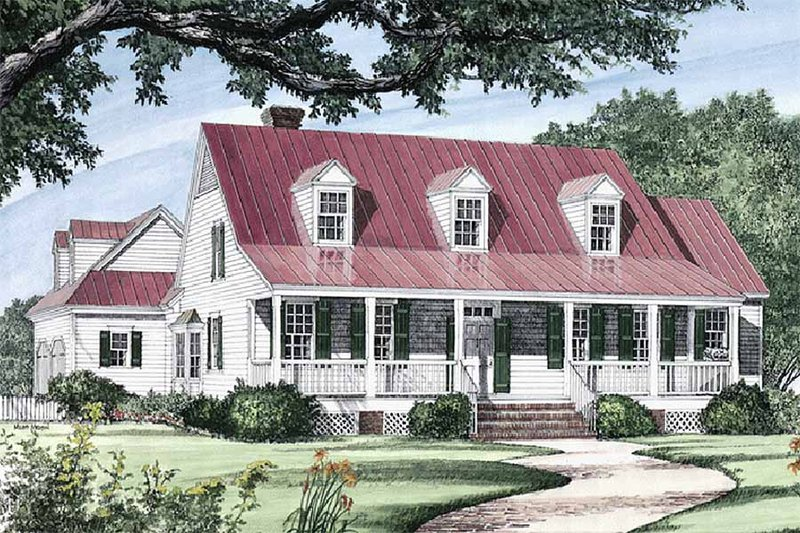 Southern Exterior - Front Elevation Plan #137-169 - Houseplans.com