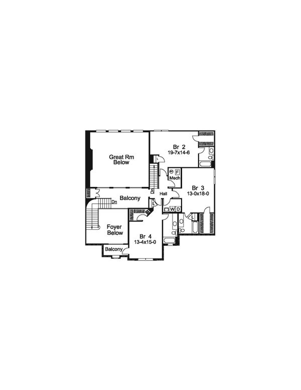 Tudor Floor Plan - Upper Floor Plan Plan #57-575
