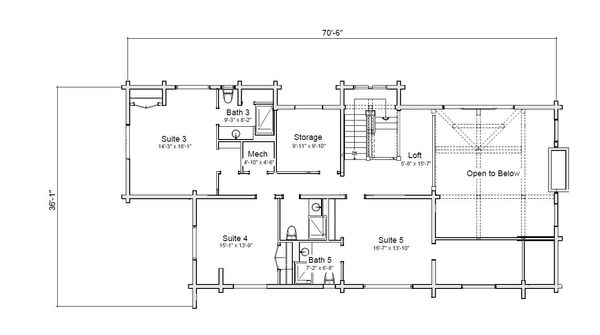 Log Floor Plan - Upper Floor Plan Plan #451-28