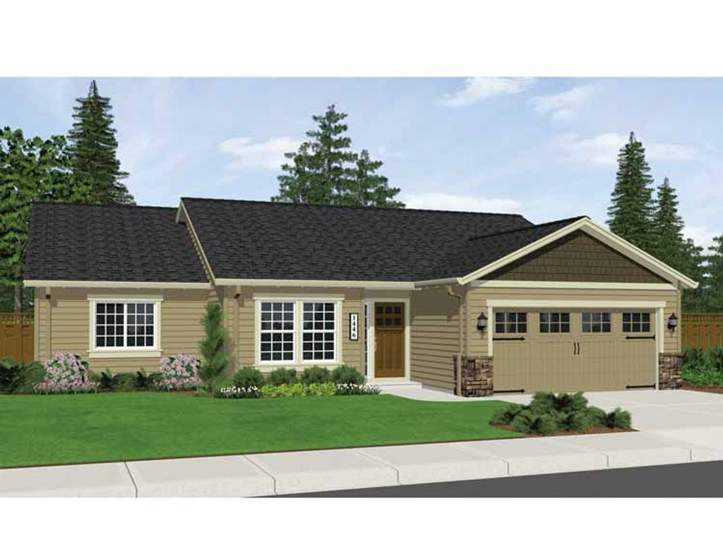 Ranch style house plan 3 beds 2 baths 1446 sq ft plan for Www eplans com