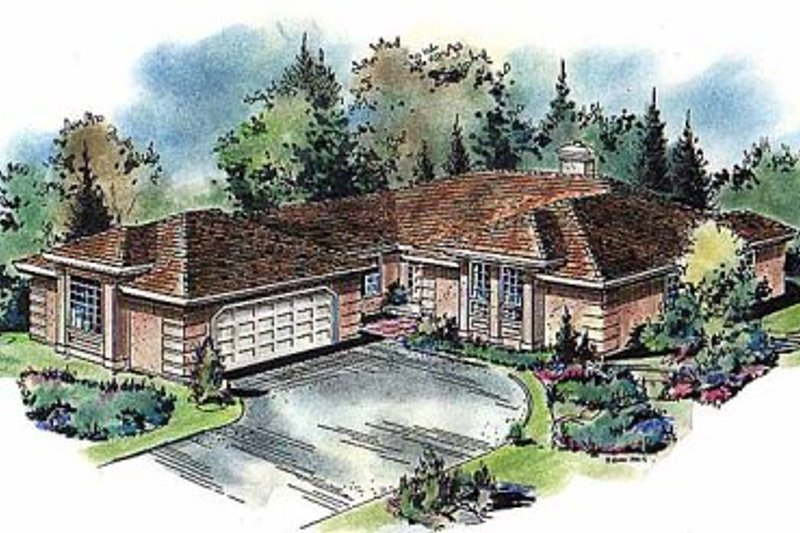 Mediterranean Exterior - Front Elevation Plan #18-111
