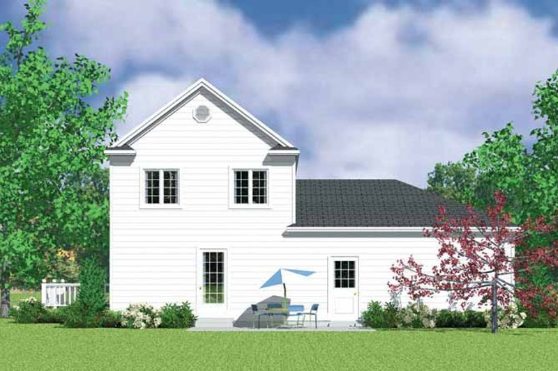 House Blueprint - Country Exterior - Rear Elevation Plan #72-1111