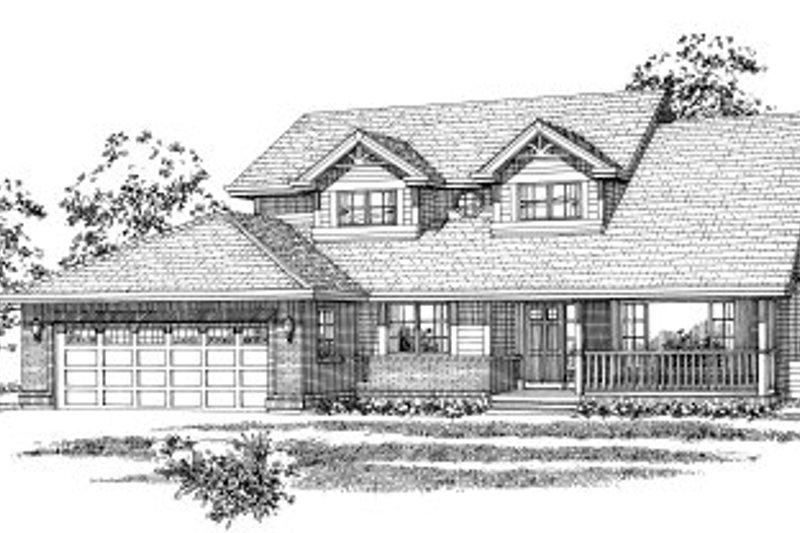 Country Style House Plan - 3 Beds 2.5 Baths 2057 Sq/Ft Plan #47-597 Exterior - Front Elevation