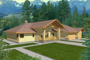 Ranch Exterior - Front Elevation Plan #117-437