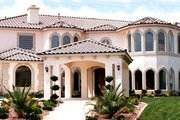 Mediterranean Style House Plan - 6 Beds 6.5 Baths 7572 Sq/Ft Plan #1-940 Exterior - Front Elevation