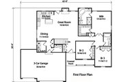 Country Style House Plan - 3 Beds 2.5 Baths 1635 Sq/Ft Plan #22-471 Floor Plan - Main Floor Plan
