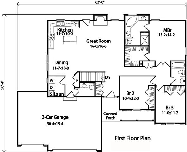 Architectural House Design - Country Floor Plan - Main Floor Plan #22-471