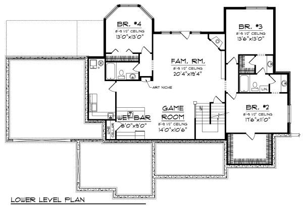 European Floor Plan - Lower Floor Plan Plan #70-885