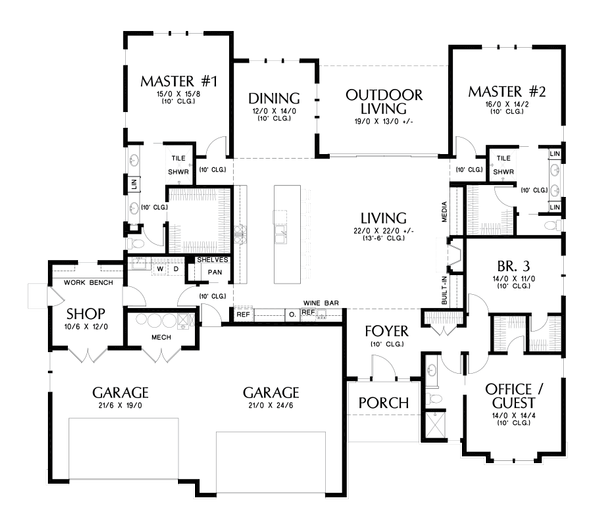 Dream House Plan - Contemporary Floor Plan - Main Floor Plan #48-1022