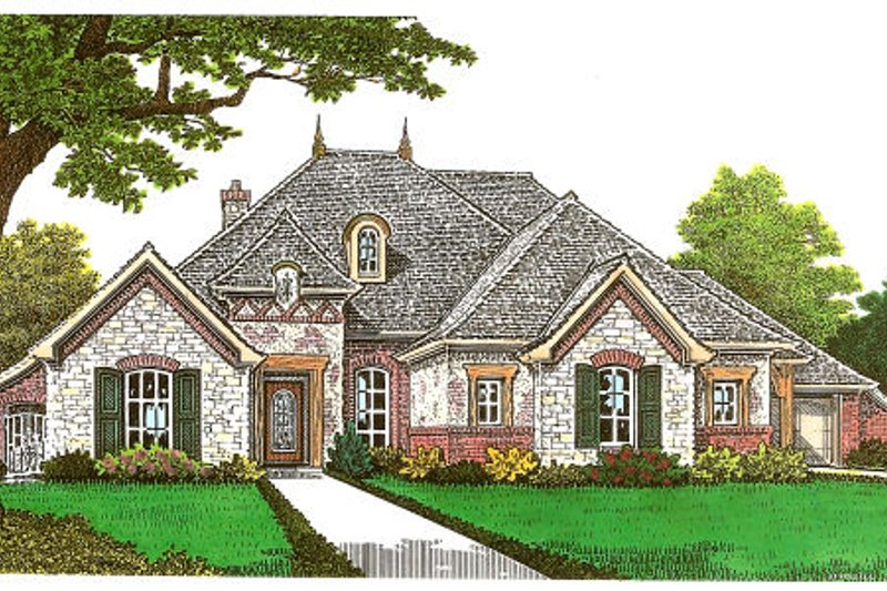 European Style House Plan - 4 Beds 3 Baths 2573 Sq/Ft Plan #310-667 Exterior - Front Elevation