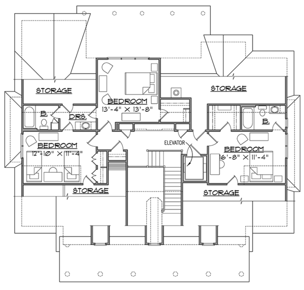 Southern Floor Plan - Upper Floor Plan Plan #1054-19
