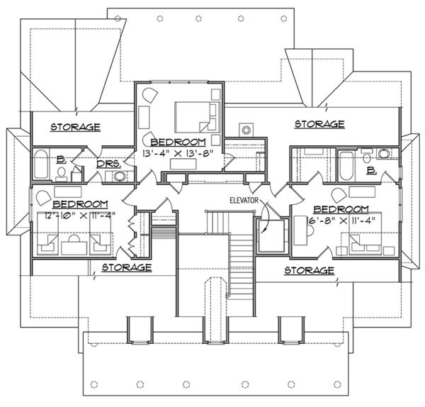 Southern Floor Plan - Upper Floor Plan #1054-19