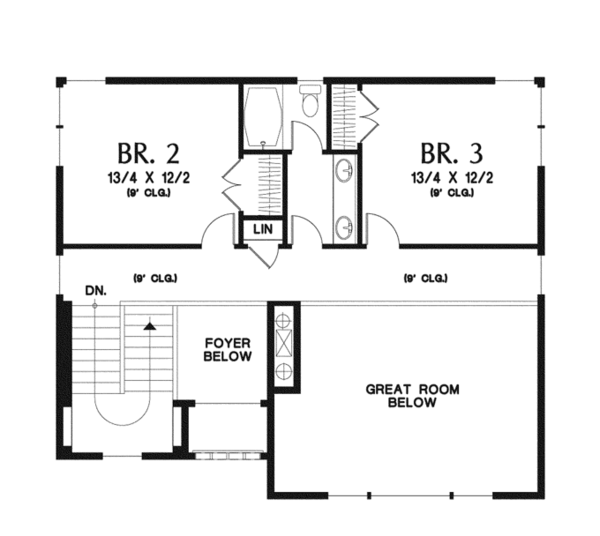 Craftsman Floor Plan - Upper Floor Plan Plan #48-913