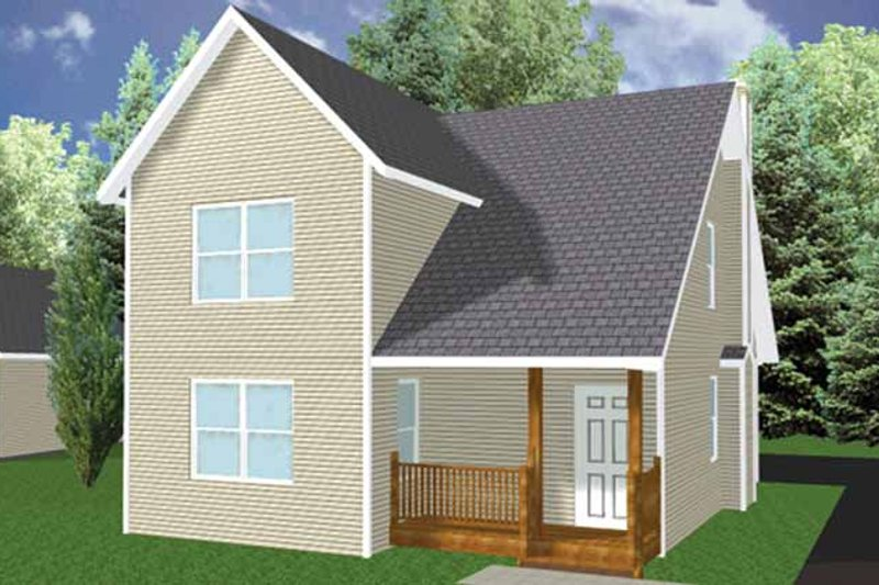 Country Exterior - Front Elevation Plan #980-3