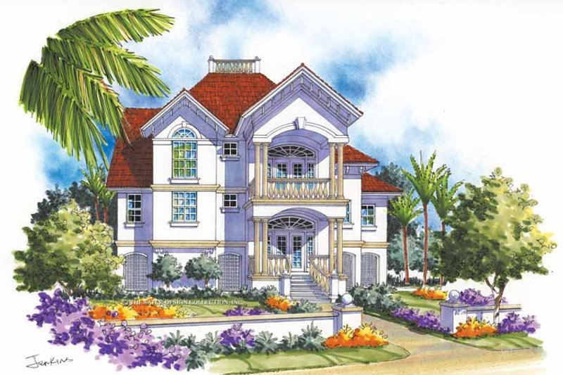 Mediterranean Exterior - Front Elevation Plan #930-115