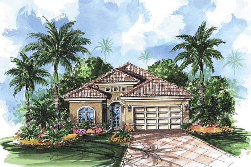 Mediterranean Exterior - Front Elevation Plan #1017-84