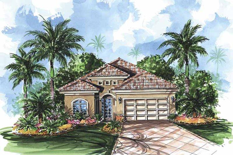 Dream House Plan - Mediterranean Exterior - Front Elevation Plan #1017-84
