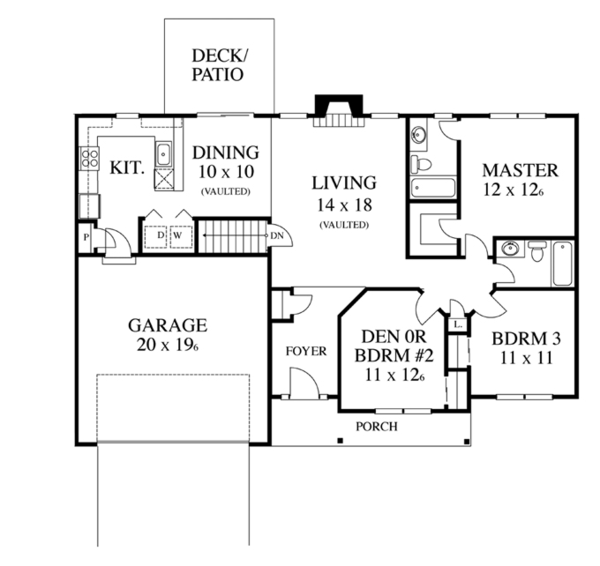Colonial Floor Plan - Main Floor Plan Plan #1053-17