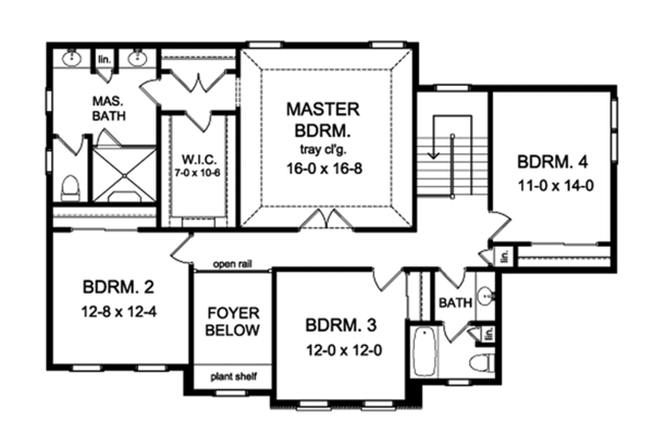 Colonial Floor Plan - Upper Floor Plan Plan #1010-169