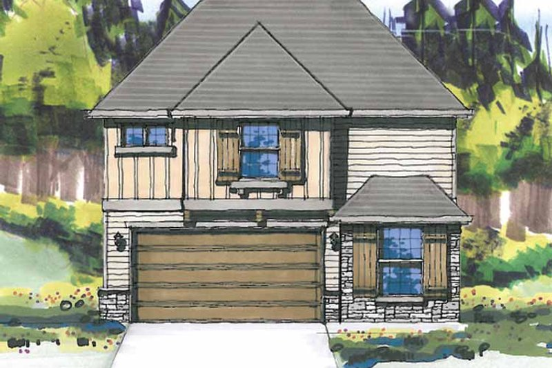 Prairie Exterior - Front Elevation Plan #509-308