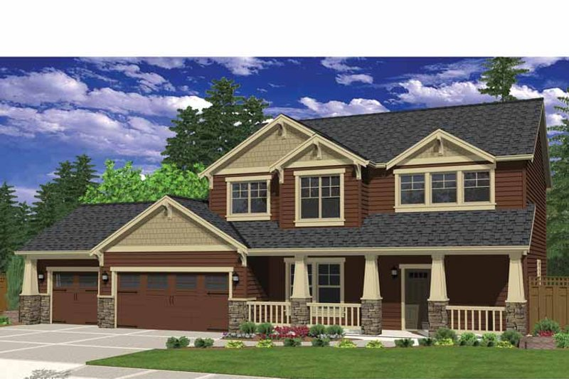 Craftsman Style House Plan - 3 Beds 2.5 Baths 2143 Sq/Ft Plan #943-35 Exterior - Front Elevation