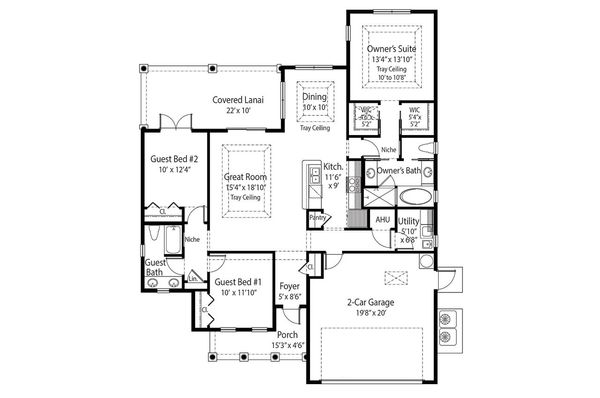 Mediterranean Floor Plan - Main Floor Plan Plan #938-22