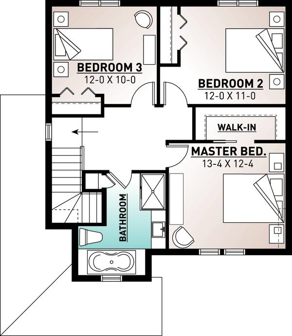 Country Floor Plan - Upper Floor Plan Plan #23-2407