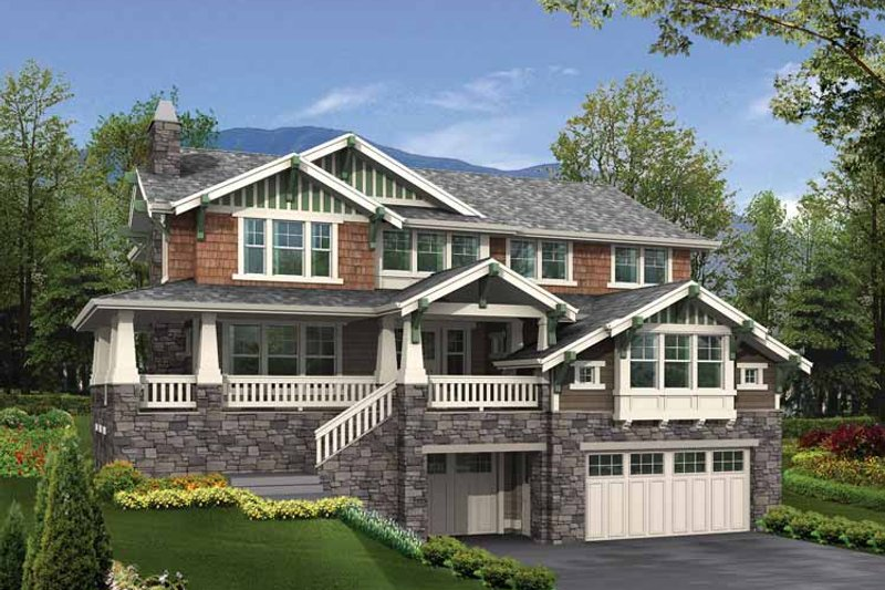 Architectural House Design - Craftsman Exterior - Front Elevation Plan #132-334