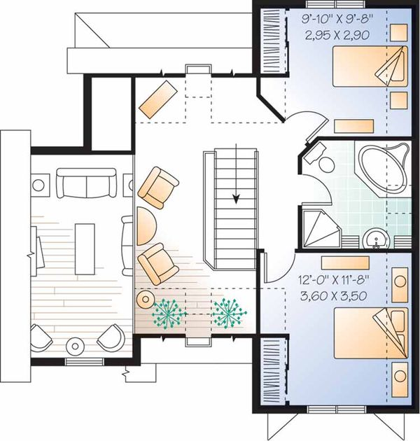 European Floor Plan - Upper Floor Plan Plan #23-2459