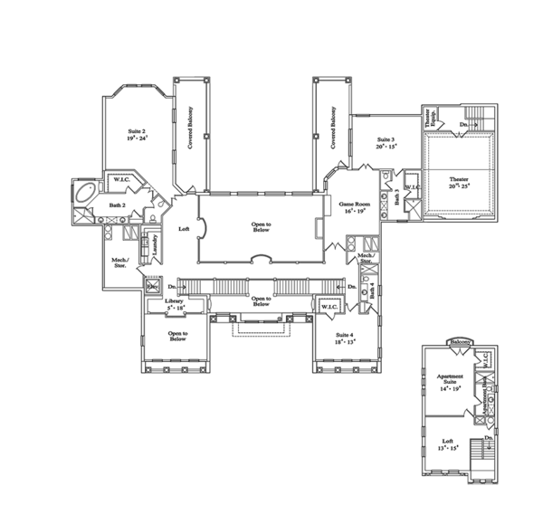 Mediterranean Floor Plan - Upper Floor Plan Plan #417-817