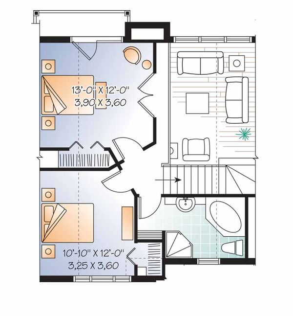 European Floor Plan - Upper Floor Plan Plan #23-2491