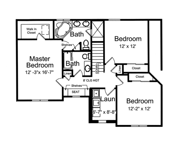 Country Floor Plan - Upper Floor Plan Plan #46-845