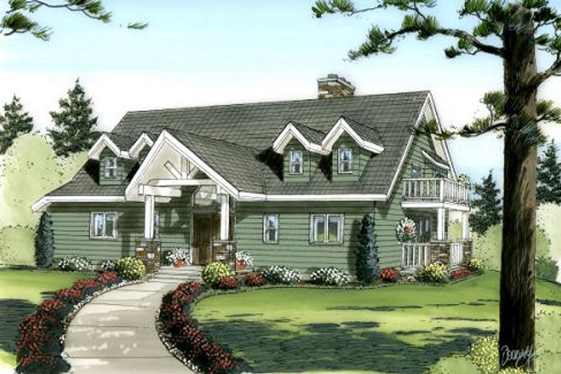 Craftsman Style House Plan - 3 Beds 2.5 Baths 2113 Sq/Ft Plan #126-144 Exterior - Front Elevation