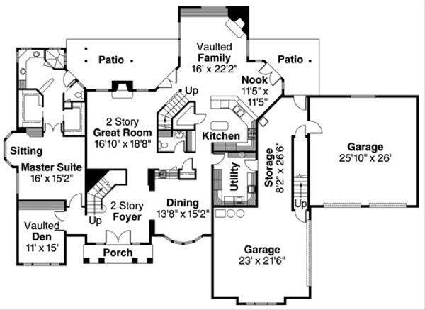 European Floor Plan - Main Floor Plan Plan #124-319