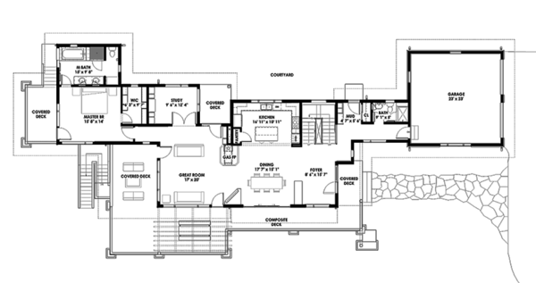 Prairie Floor Plan - Main Floor Plan Plan #1042-17